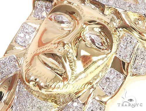 10K Yellow Gold Micro Pave Diamond Jesus Piece Charm Pendant 63303 Metal