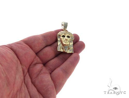 10K Yellow Gold Micro Pave Diamond Jesus Piece Charm Pendant 63624 Metal