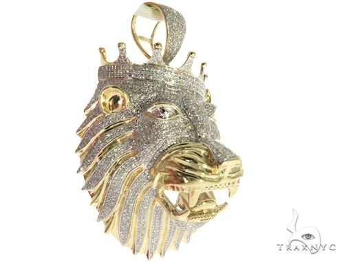 10K Yellow Gold Micro Pave Diamond Lion Head Charm Pendant 63634 Metal
