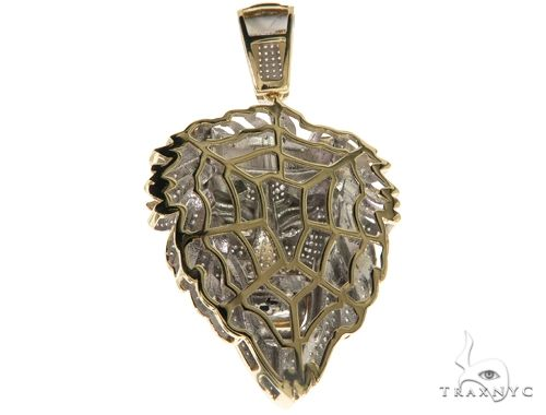 10K Yellow Gold Micro Pave Diamond Lion Head Pendant 63298 Metal