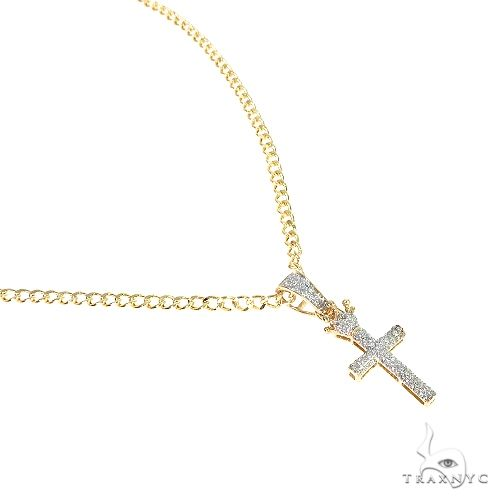 10K Yellow Gold Micro Pave Diamond Small Crowned Cross Set 66617 Diamond