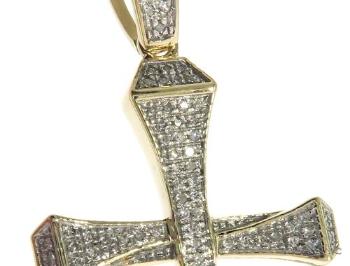 10K Yellow Gold Micro Pave Diamond Small Nail Cross Pendant 63616 Metal