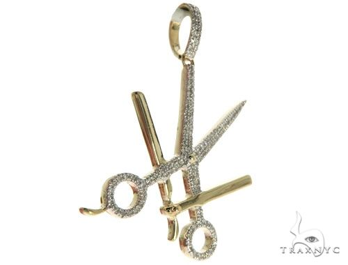 10K Yellow Gold Micro Pave Diamond Small Scissors and Blade Barbers Shear Charm Pendant 63629 Metal