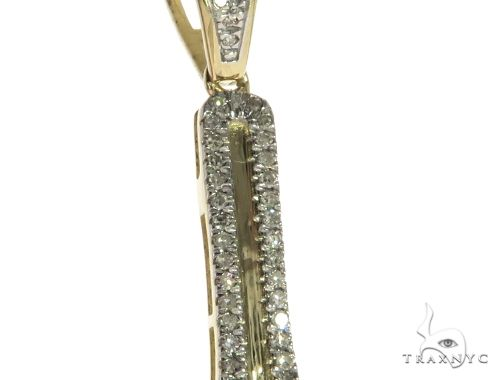 10K Yellow Gold Micro Pave Diamond Small Wrench Charm Pendant 63633 Metal