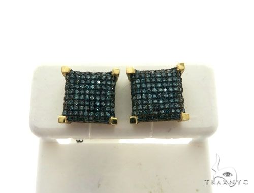 10K Yellow Gold Micro Pave Diamond Square Stud Earrings 63008 Stone