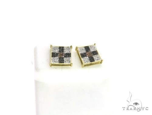 10K Yellow Gold Micro Pave Diamond Square Stud Earrings. 63192 Stone