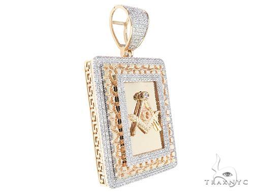 10K Yellow Gold Micro Pave Diamond Square and Compasses Masonic Symbols Charm Pendant 63300 Metal