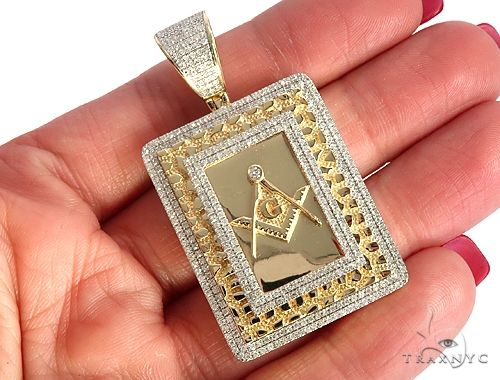 10K Yellow Gold Micro Pave Diamond Square and Compasses Masonic Symbols Charm Pendant 63300 Metal