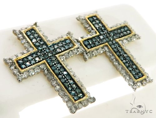 10K White Gold Micro Pave Diamond Stud Cross Crucifix Earrings. 63217 Stone