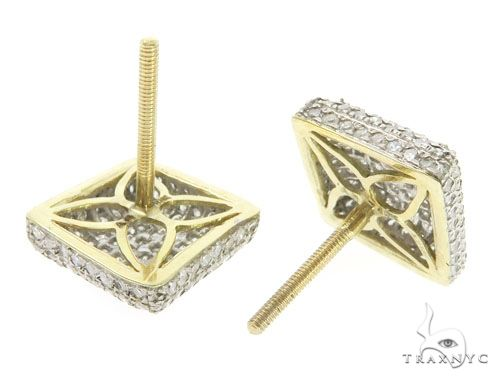 10K Yellow Gold Micro Pave Diamond Stud Earrings 61441 Stone