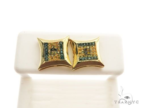 10K Yellow Gold Micro Pave Diamond Stud Earrings 62620 Stone
