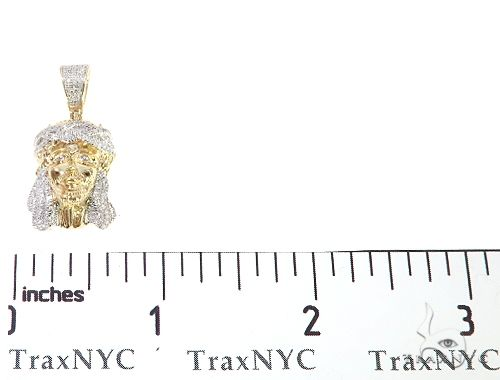 10K Yellow Gold Mini Diamond Jesus Head Pendant 65047 Metal