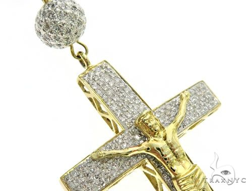 10K Yellow Gold Pave Diamond Rosary Chain 30 Inches 8mm 63.3 Grams 63455 Diamond