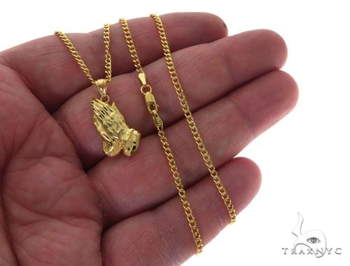 10K Yellow Gold Praying Hands Charm 20 Inches Cuban Link Chain Set 61818 Style
