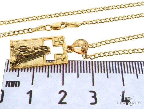 10K Yellow Gold Praying Hands Worship Charm 20 Inches Cuban Link Chain Set 61820 Style