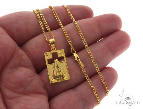 10K Gold Praying Hands Worship Charm 24 Inches Cuban Link Chain Set 61821 Style