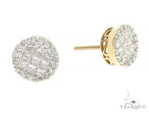 10K Yellow Gold Princess Cut Diamond Stud Earrings 65369 Stone