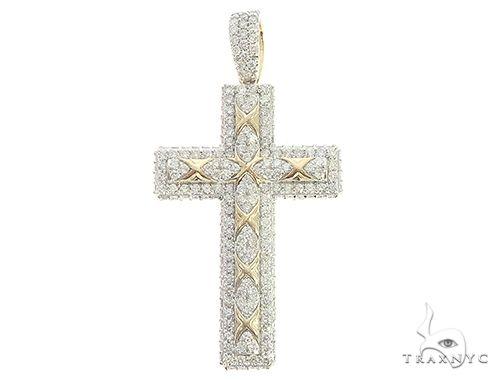 10K Yellow Gold Prong Diamond Cross 65387 Diamond