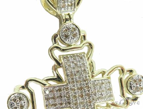 10K Yellow Gold Prong Diamond Cross Crucifix Pendant 56759 Diamond