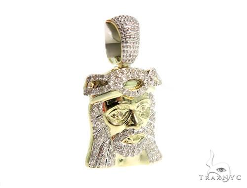 10K Yellow Gold Prong Diamond Jesus Pendant 56742 Style