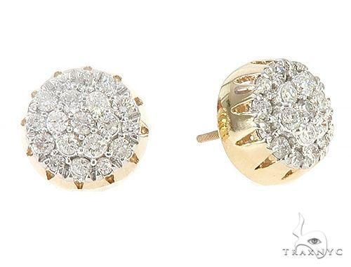 10K Yellow Gold Round Cluster Diamond Stud Earrings 65375 Stone