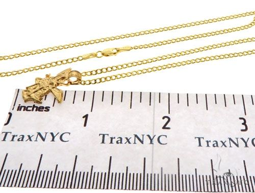 10K Yellow Gold Saint St Michael Charm 22 Inches Cuban Link Chain Set 62574 Style