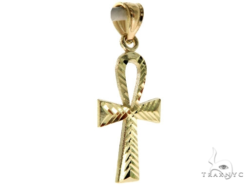 10K Yellow Gold Small Ankh Cross Crucifix 57104 Gold