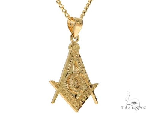 10K Yellow Gold Square and Compasses Masonic Instruments Charm 24 Inches Cuban Link Chain Set 61817 Style