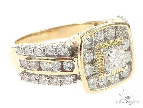 10K Yellow Gold Three Row Channel Diamond Prong Anniversary Wedding Ring 65341 Anniversary/Fashion