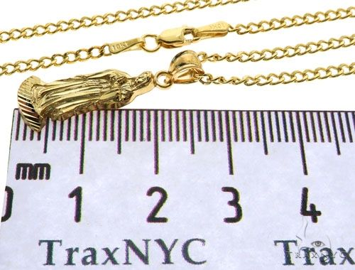 10K Gold Virgin Mary Charm 24 Inches Cuban Link Chain Set 61815 Style