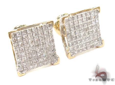 10K Yellow Prong Diamond Earrings 32053 Stone