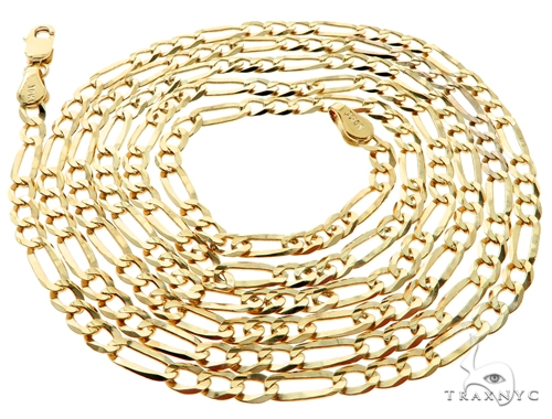 10KY Figaro Link Chain 26 Inches 3mm 6.4 Grams 57255 Gold
