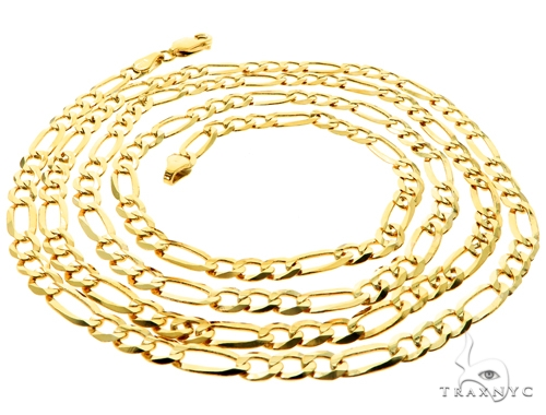 10KY Figaro Link Chain 30 Inches 4mm 11 Grams 57253 Gold