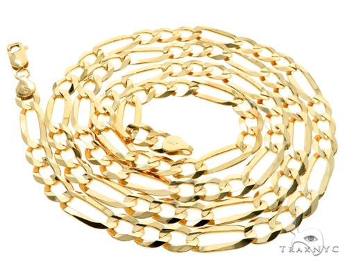 10KY Figaro Link Chain 30 Inches 7mm 29.5 Grams 57249 Gold