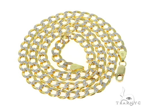10KY Hollow Cuban Link Diamond Cut Chain 22 Inches 5mm 8.4 Grams 57608 Gold