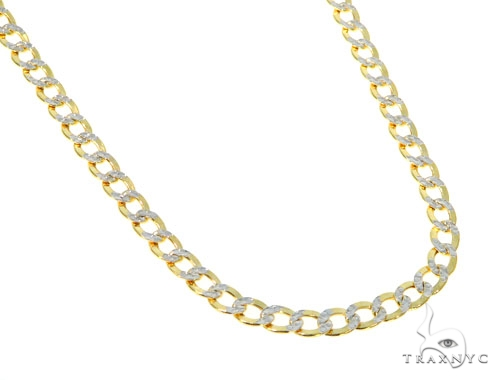10KY Hollow Cuban Link Diamond Cut Chain 24 Inches 4.5 mm 7.3 Grams 57613 Gold