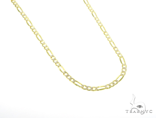 10KY Hollow Figaro Link Diamond Cut Chain 24 Inches 4mm 8.4 Grams 57626 Gold