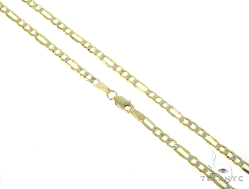 10KY Hollow Figaro Link Diamond Cut Chain 18 Inches 3mm 3.7 Grams 57621 Gold