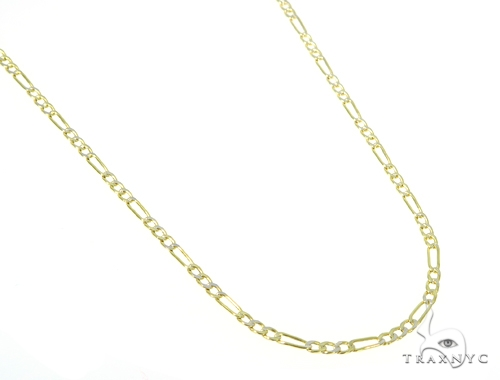 10KY Hollow Figaro Link Diamond Cut Chain 20 Inches 2.5mm 2.3 Grams 57620 Gold