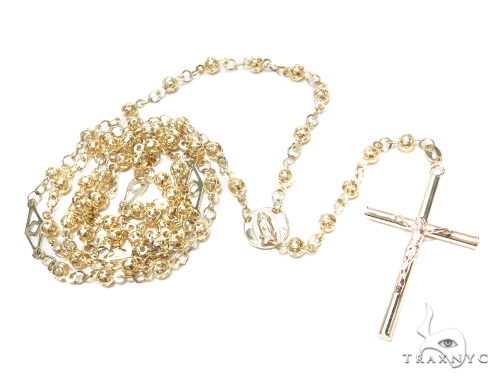 10k Gold Rosary Chain 28 Inches 4mm 13.2 Grams 42314 Gold