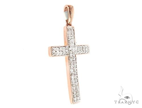 10k Two Tone Diamond Cross Pendant 65107 Diamond Cross Pendants