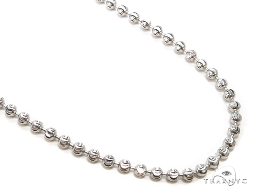 10k White Gold Bead Chain 24 Inches 3mm 15.4 Grams Gold