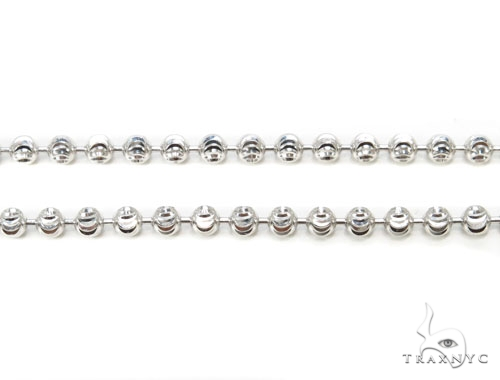 10k White Gold Bead Chain 28 Inches 3mm 17.10 Grams Gold