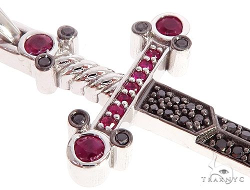 10k White Gold Black Diamond And Ruby Sword Pendant 65104 Stone