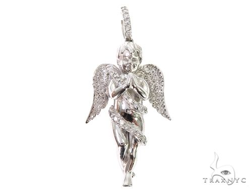 10k White Gold Diamond Angel Pendant 64909 Metal
