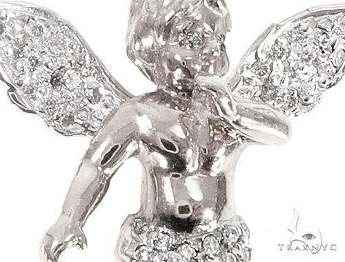 10k White Gold Diamond Angel Pendant 64910 Metal