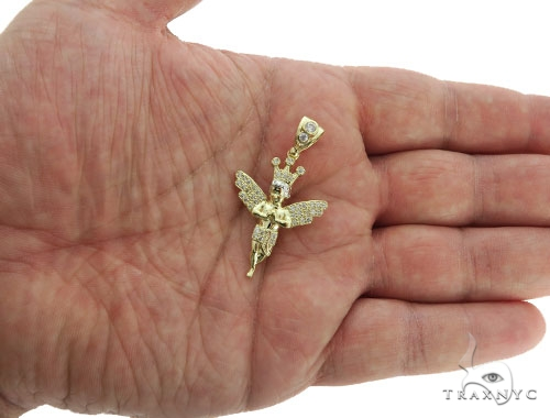 10k Yellow Gold Crown Angel Pendant 44272 Style