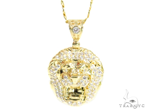 10k Yellow Gold Lion Cuban/Curb Chain Set 44462 Metal