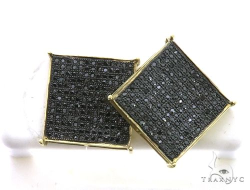 10k Yellow Gold Micro Pave Diamond XL Earrings. 63193 Stone