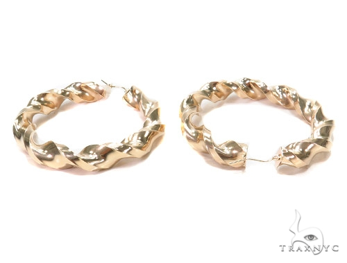 10k Yellow Hoop Earrings 42967 Style